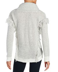 Lord & Taylor - Gray Fringe Hi-lo Sweater - Lyst