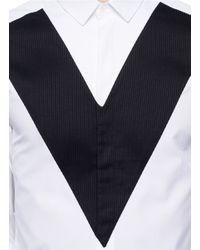 Neil Barrett - White Textured V-panel Cotton Shirt for Men - Lyst