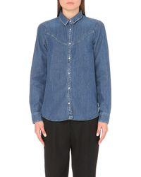 KENZO - Blue Yoke-detail Denim Shirt - Lyst