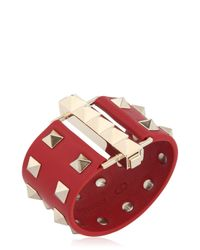 Valentino | Metallic Studded Leather Cuff Bracelet | Lyst