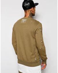 Criminal Damage - Green Shoreditch Sweatshirt With Distressing for Men - Lyst