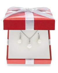 Macy's | White Cultured Freshwater Pearl (7-1/2-8-1/2mm) And Diamond Accent Jewelry Set In Sterling Silver | Lyst