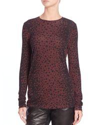 VINCE | Purple Leopard-print Crewneck Top | Lyst