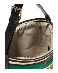 Marni | Green Leather-trimmed Raffia Tote | Lyst