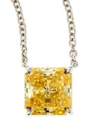 Fantasia by Deserio - Metallic 10mm Radiant Canary Cubic Zirconia Necklace - Lyst