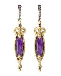 Armenta | Purple Elongated Fleur De Lis Sugelite Earrings | Lyst