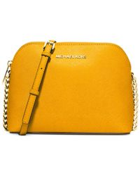 Michael Kors - Yellow Michael Cindy Large Dome Crossbody - Lyst