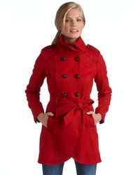 Guess - Red Belted Double Breasted Wool Coat - Lyst