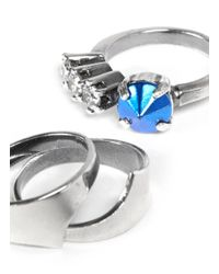 Iosselliani | Blue Crystal And Metallic Rhinestone Three Ring Set | Lyst