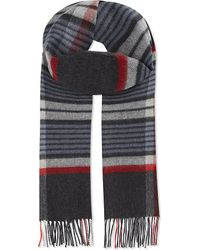 Johnstons | Gray Striped Check Wool-cashmere Scarf for Men | Lyst