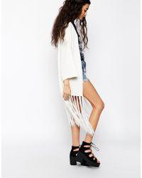 ASOS | Brown Slub Knit Kimono Cardigan With Fringing | Lyst