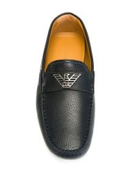 Emporio Armani | Blue Plaque Detail Loafers for Men | Lyst