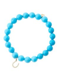 Sydney Evan - Blue 8Mm Turquoise Beaded Bracelet With 14K Yellow Gold/Diamond Medium Hamsa Charm (Made To Order) - Lyst