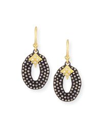 Armenta - Black Midnight Oval Drop Earrings With Diamonds - Lyst