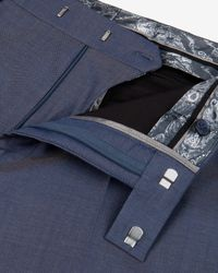 Ted Baker | Blue Wool And Silk-blend Trousers for Men | Lyst