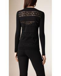 Burberry - English Lace Detail Cotton Cardigan Black - Lyst