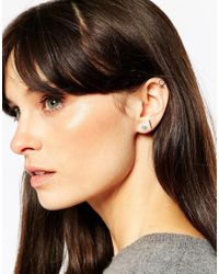 ASOS | Metallic Sterling Silver Mixed Shapes Ear Stud And Cuff Pack | Lyst