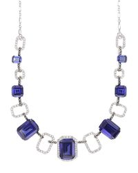 Judith Jack | Blue Sterling Silver And Multi-Crystal Frontal Necklace | Lyst