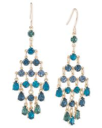 Carolee | Metallic Gold-tone Blue Crystal Chandelier Earrings | Lyst