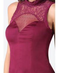 Bebe | Purple Anna Lace Mock Neck Top | Lyst