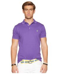 Polo Ralph Lauren - Purple Custom-Fit Stretch-Mesh Polo for Men - Lyst