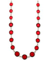 Anne Klein   Red Faceted Stone Long Necklace   Lyst