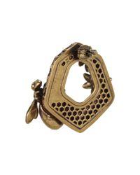 Alexander McQueen - Orange Hexagon Bee Skull Earrings - Lyst