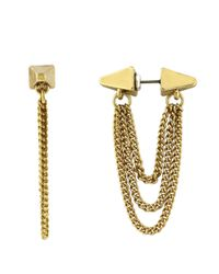 BCBGeneration | Metallic Goldtone Ear Tunnel With Chain Earring | Lyst