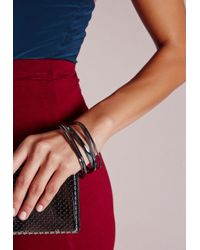 Missguided | Metallic Thin Stacking Bracelets Pewter | Lyst