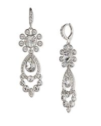 Givenchy | Metallic Silver-tone Crystal Chandelier Earrings | Lyst