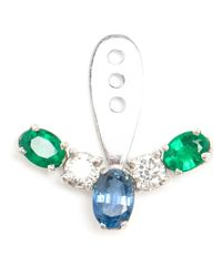 Yvonne Léon | Blue Sapphire, Diamond And Emerald Lobe Earring | Lyst