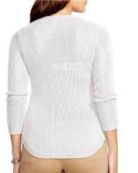 Lauren by Ralph Lauren | White Plus Crewneck Sweater | Lyst