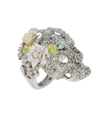 Betsey Johnson | Multicolor Skull And Flower Ring | Lyst