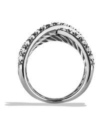 David Yurman - Metallic Crossover Ring With Diamonds - Lyst