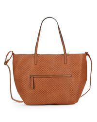 Saks Fifth Avenue | Brown Perforated Faux Leather Tote & Crossbody Set | Lyst