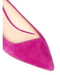 Giorgio Armani - Pink Angle Cut Suede Flats - Lyst