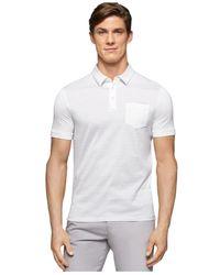 Calvin Klein | White Striped Jacquard Pocket Polo for Men | Lyst
