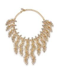 Kenneth Jay Lane | Metallic Crystal Leaf Charm Necklace | Lyst