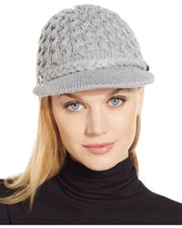 Calvin Klein | Gray Honeycomb Cable Newsboy Hat | Lyst