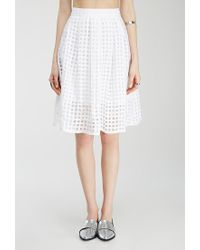 Forever 21 | White Pleated Windowpane-patterned Skirt | Lyst