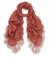 Valentino - Pink Romantic Lace Border Wool Scarf - Lyst