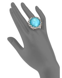 Stephen Webster | Superstud Blue Cat's Eye, Mother-of-pearl, Clear Quartz & Sterling Silver Haze Large Dome Ring | Lyst