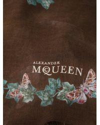 Alexander McQueen - Brown Butterfly Print Scarf - Lyst