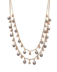 Forever 21 - Metallic Layered Faux Gemstone Necklace - Lyst