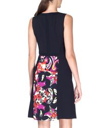 Etro - Purple Abstract-print Wool-crepe A-line Dress - Lyst