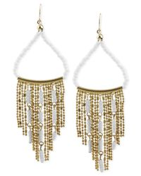 Steve Madden | Metallic Gold-Tone White Bead Chain Chandelier Earrings | Lyst