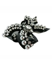 Shourouk | Black Bow Line Rose Pin | Lyst