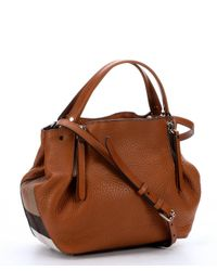 Burberry - Saddle Brown Leather And Check Canvas 'Maidstone' Zip Convertible Small Tote Bag - Lyst