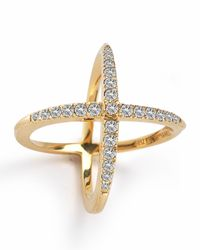 Elizabeth and James | Metallic Windrose Pave White Topaz Ring | Lyst
