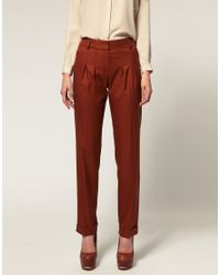 ASOS | Brown Low Slung Trouser With Peg Leg | Lyst